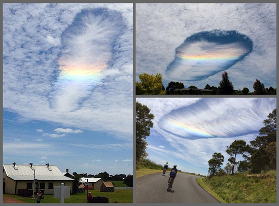Share International December 2014 images, UFO-shaped cloud with a rainbow, seen all over Australia on 3 November 2014