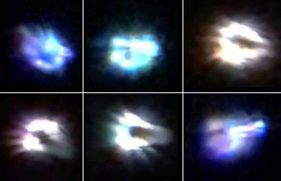 Share International January / February 2018 images, Around sunset on 7 December 2017 a witness near Sedona, Arizona, photographed two glowing disk-shaped objects that the witness reported were moving and making a vibrating noise.