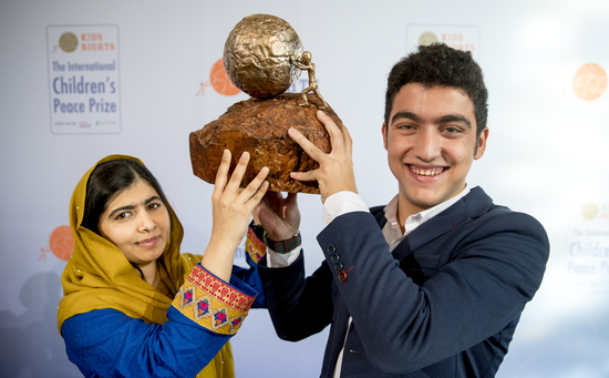 Share International September 2018 images, Mohamad Al Jounde was the winner of the International Children's Peace Prize in 2017, received from Malala Yousafzai.